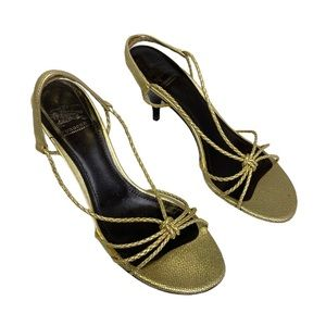 Gold Burberry Strappy Sandal Heels Size 37